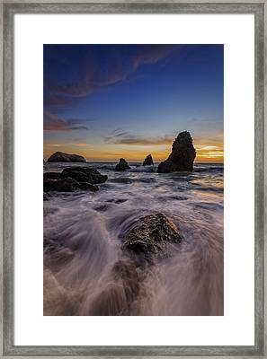 Rushing Tide On Rodeo Beach Framed Print by Rick Berk