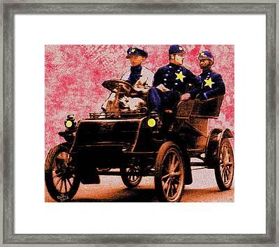 Rushing To The Crime Scene Framed Print by Cliff Wilson