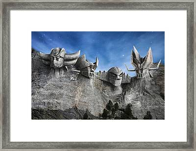 Rushmore Super Robot Framed Print by Andrea Gatti