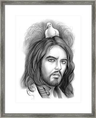 Russell Brand Framed Print by Greg Joens