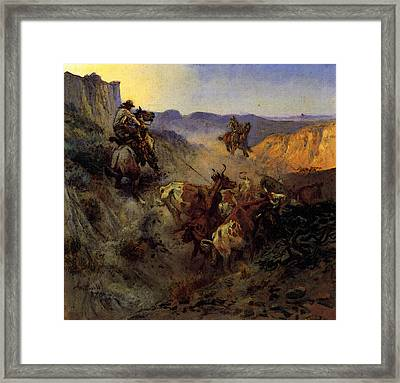 Russell Charles Marion The Slick Ear Framed Print by Charles Marion Russell