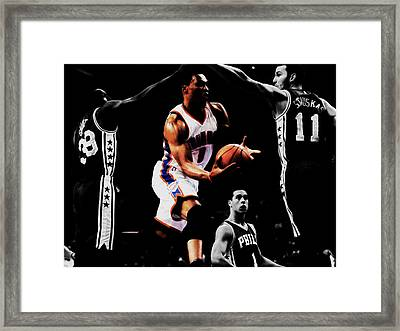 Russell Westbrook Going Underneath Framed Print