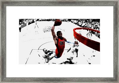 Russell Westbrook In Flight Framed Print