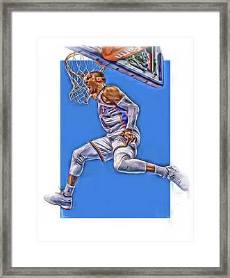 Russell Westbrook Oklahoma City Thunder Oil Art 2 Framed Print