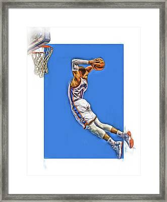Russell Westbrook Oklahoma City Thunder Oil Art 3 Framed Print