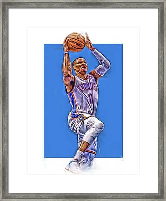 Russell Westbrook Oklahoma City Thunder Oil Art Framed Print
