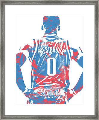 Russell Westbrook Oklahoma City Thunder Pixel Art 16 Framed Print
