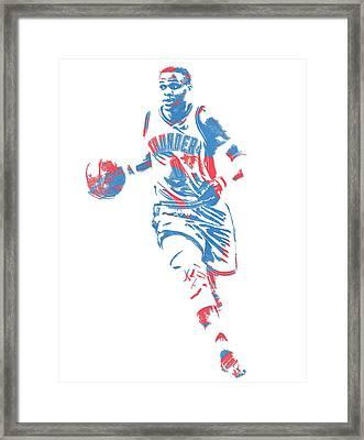 Russell Westbrook Oklahoma City Thunder Pixel Art 17 Framed Print
