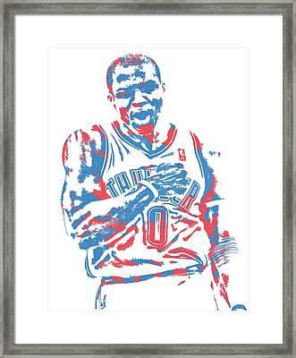 Russell Westbrook Oklahoma City Thunder Pixel Art 18 Framed Print
