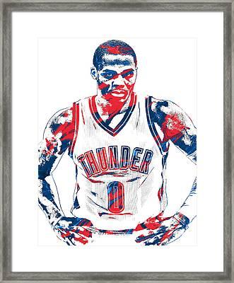Russell Westbrook Oklahoma City Thunder Pixel Art 4 Framed Print by Joe Hamilton