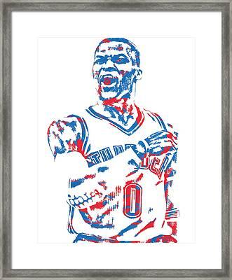 Russell Westbrook Oklahoma City Thunder Pixel Art 6 Framed Print