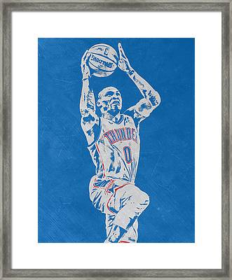 Russell Westbrook Scratched Metal Art 2 Framed Print