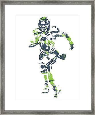 Russell Wilson Seattle Seahawks Pixel Art 14 Framed Print