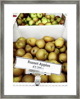 Russet Apples For Sale Framed Print by Tom Gowanlock