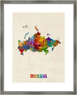 Russia Watercolor Map Framed Print by Michael Tompsett