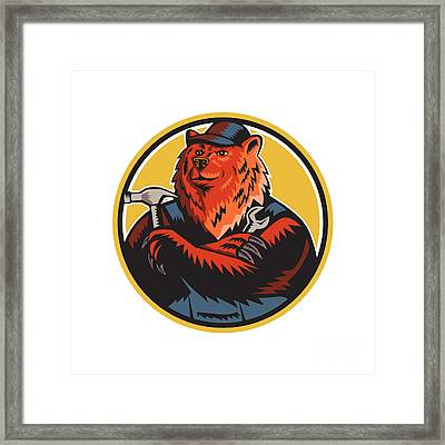 Russian Bear Builder Handyman Circle Woodcut Framed Print by Aloysius Patrimonio