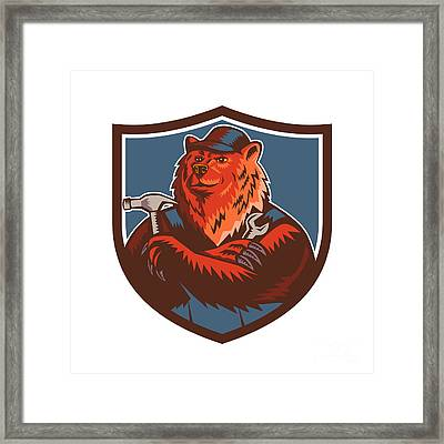 Russian Bear Builder Handyman Crest Woodcut Framed Print