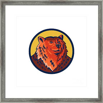 Russian Bear Head Circle Retro Framed Print by Aloysius Patrimonio