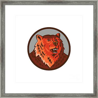 Russian Bear Head Growling Circle Retro Framed Print by Aloysius Patrimonio