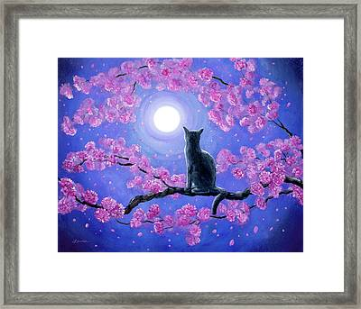 Russian Blue Cat In Pink Flowers Framed Print by Laura Iverson