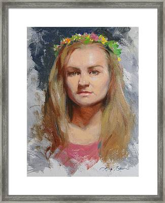 Russian Girl Framed Print by Anna Rose Bain