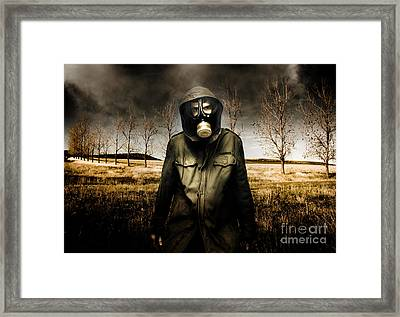Russian Military Fighter Standing In A Dead Autumn Field As Contaminated Poisonous Air Falls From Th Framed Print by Caio Caldas
