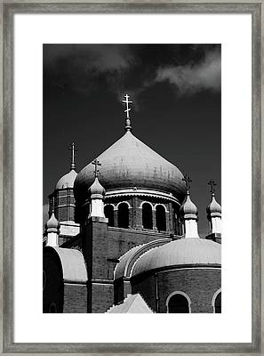 Russian Orthodox Church Bw Framed Print by Karol Livote