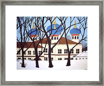 Framed Print featuring the painting Russian Orthodox Church by Stephanie Moore
