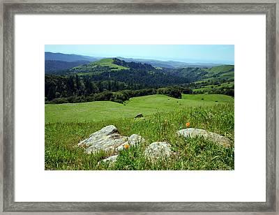 Russian Ridge View Framed Print by Kathy Yates