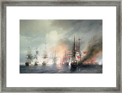 Russian Turkish Sea Battle Of Sinop Framed Print by Ivan Konstantinovich Aivazovsky