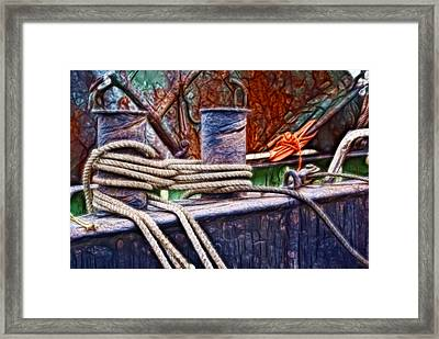 Framed Print featuring the photograph Rust And Rope by Cameron Wood