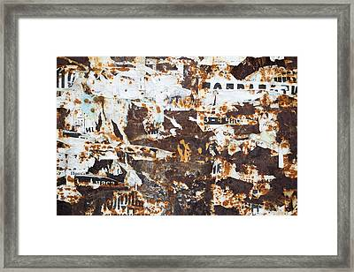Framed Print featuring the photograph Rust And Torn Paper Posters by John Williams