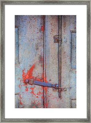 Rusted Iron Door Handle Framed Print by David Letts