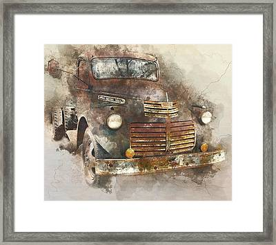 Rusted Vintage Truck - 1940s Gmc Truck Watercolor Framed Print by Rayanda Arts