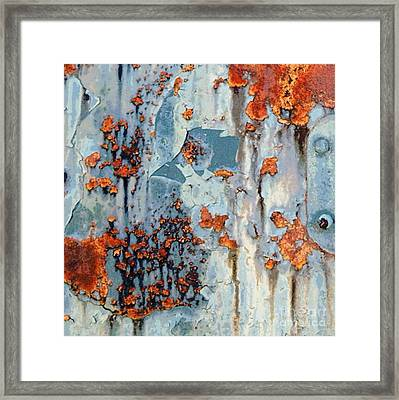 Rusted World - Orange And Blue - Abstract Framed Print by Janine Riley
