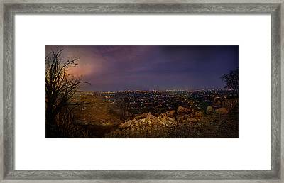 Rustenburg City  At Night Framed Print by Ronel Broderick