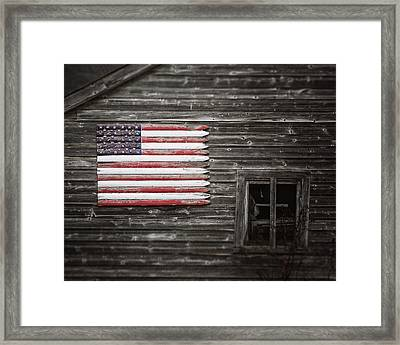 Rustic American Flag On A Weathered Grey Barn Framed Print