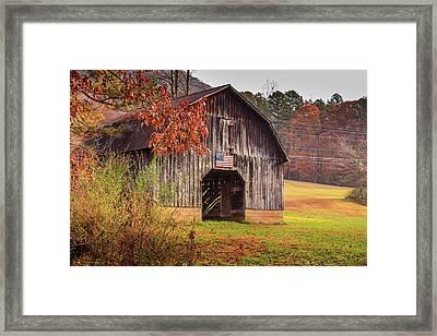 Rustic Barn In Autumn Framed Print