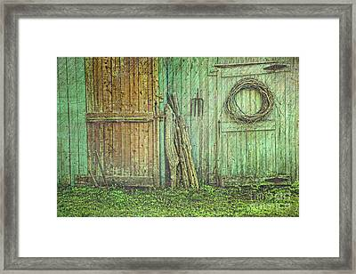 Rustic Barn Doors With Grunge Texture Framed Print