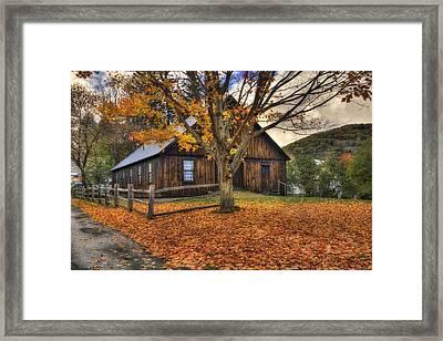 Rustic Barn In Autumn - Woodstock Vermont Framed Print