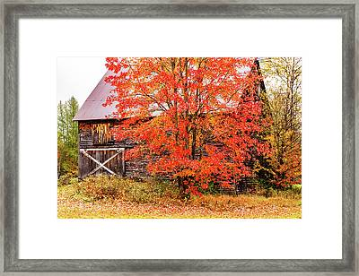 Framed Print featuring the photograph Rustic Barn In Fall Colors by Jeff Folger