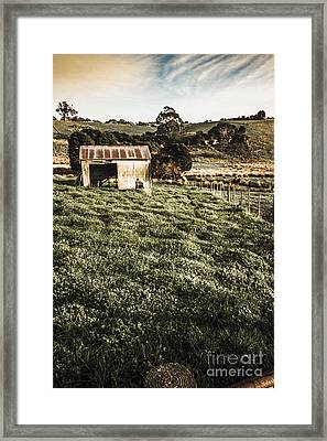 Rustic Barn In Lush Green Farmland Framed Print by Jorgo Photography - Wall Art Gallery