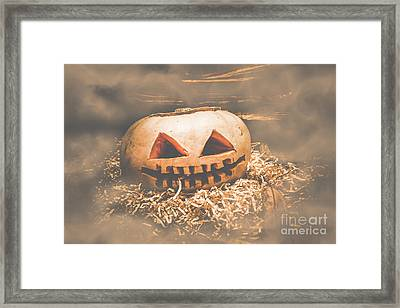 Rustic Barn Pumpkin Head In Horror Fog Framed Print