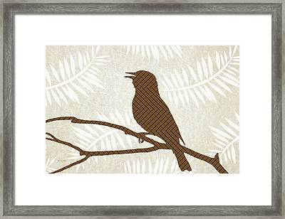 Rustic Brown Bird Silhouette Framed Print by Christina Rollo