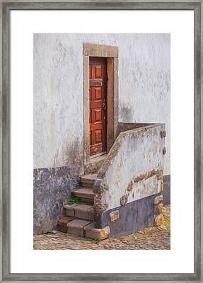 Rustic Brown Door Of Portugal Framed Print by David Letts