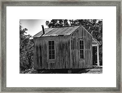 Rustic Cabin Black And White Framed Print by Ray Shrewsberry