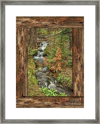 Rustic Cabin Window Forest Creek View  Framed Print