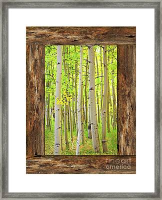 Rustic Cabin Window Into The Woods Portrait View  Framed Print