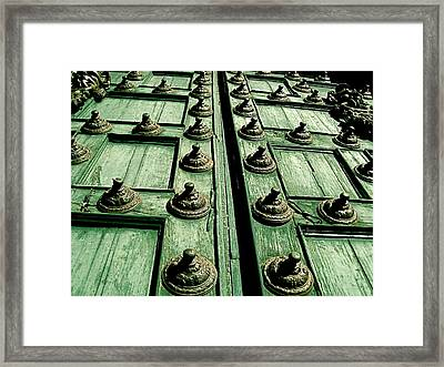 Rustic Church Door Framed Print by Valerie Rosen