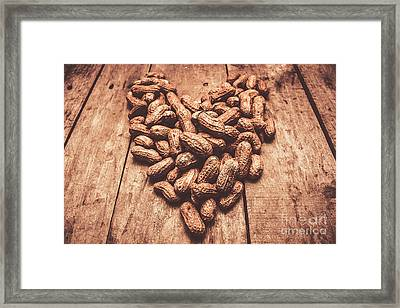 Rustic Country Peanut Heart. Natural Foods Framed Print by Jorgo Photography - Wall Art Gallery